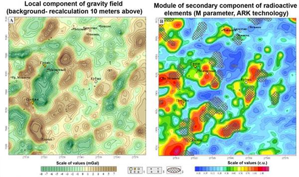 Posicionamiento de los objetos de oro-sulfuro-cuarzo y oro-plata en los mapas de transformación de gravedad y campos radiogeoquímicos