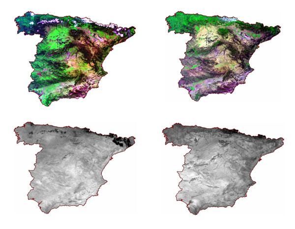 Imágenes MODIS capturadas el 03.04.08 y 04.08.2005