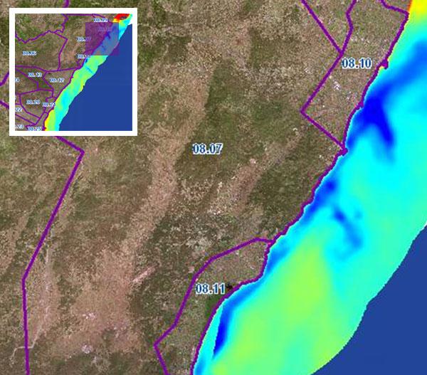 Cuenca Hidrográfica Río Júcar. Zonas de intrusión marina en UUHH